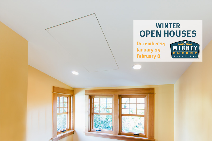 radiant heat panel in room with open house dates listed